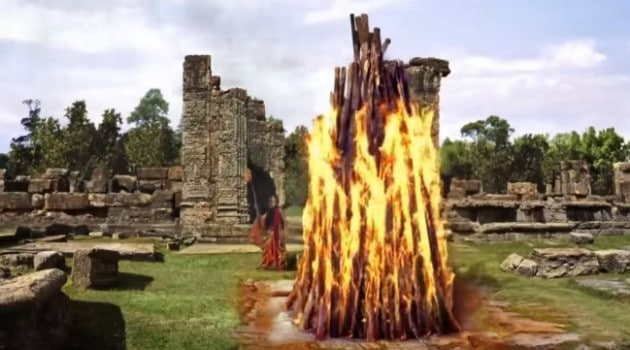 Кадр Махабхарата Амба и жертвенный костер