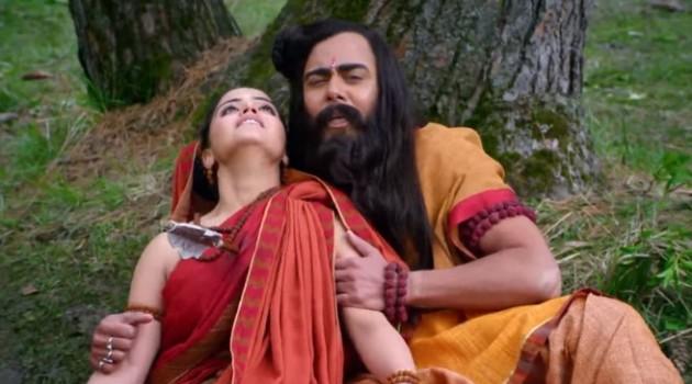 кадр Махабхарата мудрец и его жена умирают